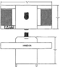 Conveyorized Ultraviolet Curing System dimensions